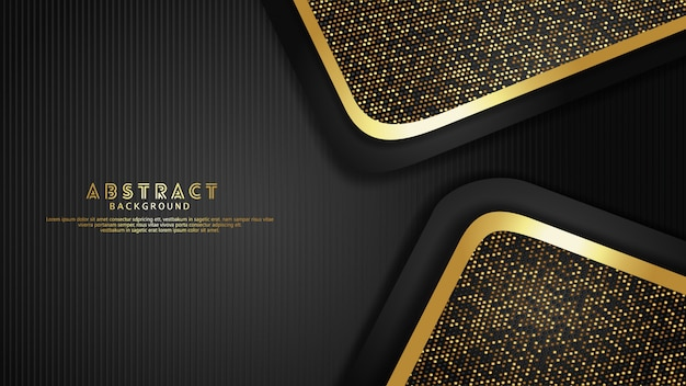 Luxo e ouro elegante e preto se sobrepõem fundo de camadas com efeito de brilhos. padrão de linhas verticais realistas em fundo escuro texturizado