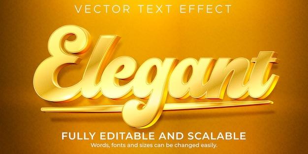 Luxo editável de efeito de texto elegante dourado e estilo de texto brilhante