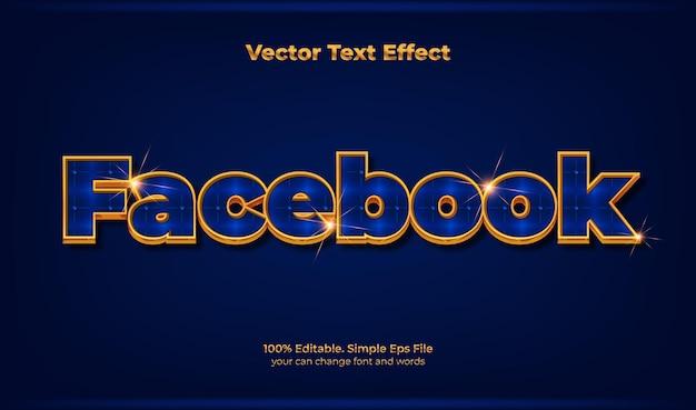Luxo efeito de texto ouro do facebook
