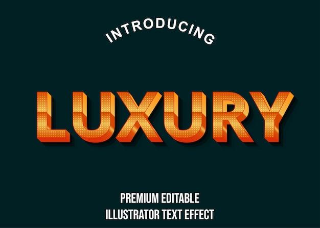 Luxo - estilo de efeito de texto laranja de luxo 3d