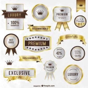 Luxo etiquetas douradas e fitas