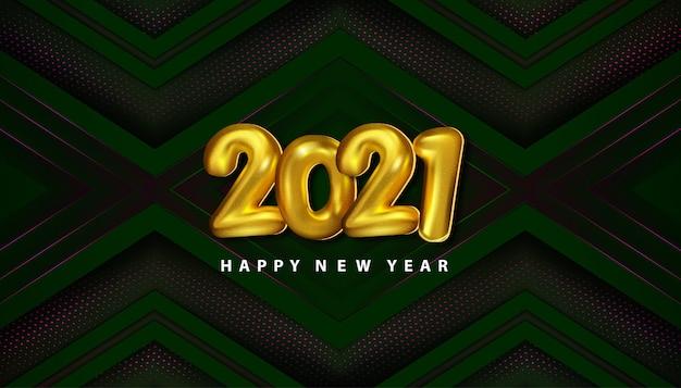 Luxo feliz ano novo 2021 com decoração recortada em papel meio-tom