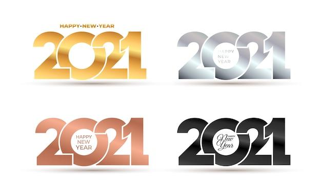 Luxo feliz ano novo elegante de ouro, prata, rosa, números de logotipo preto.