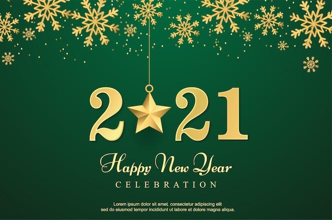 luxo feliz novo ano 2021 com fundo estrela.