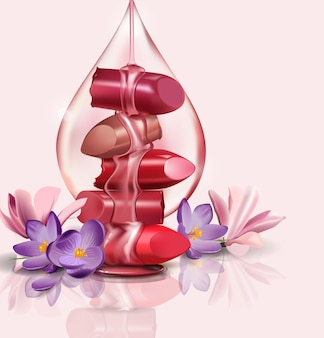 Luxo feminino batom quebrado com uma gota de óleo de rosa e mel para maquete realista