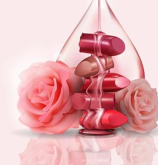 Luxo feminino batom quebrado e rosas cor de rosa com uma gota de óleo de rosa para maquiagem em fundo branco