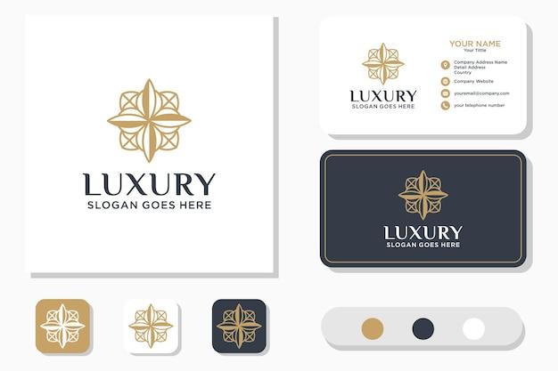 Luxo line art beauty flower logo design e cartão de visita