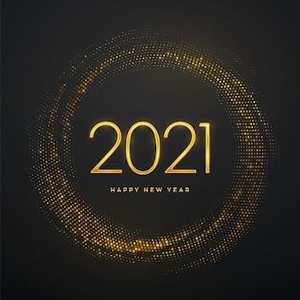Luxo metálico dourado numera 2021 em fundo cintilante