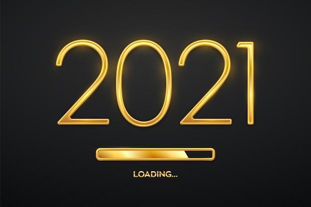 Luxo metálico dourado números 2021 com barra de carregamento dourada