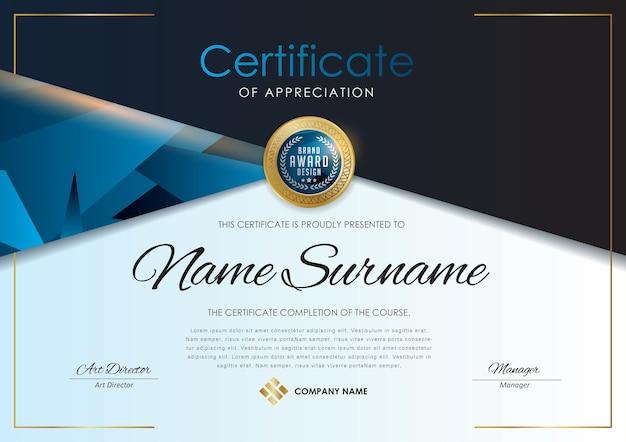 Luxo modelo de certificado