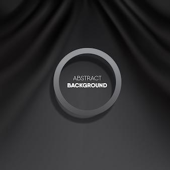 Luxo moderno preto rasgar fundo de cortina de onda, com moldura preta removível