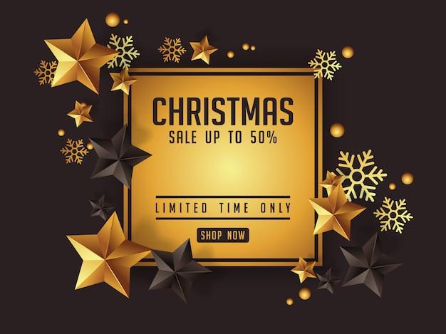 Luxo natal venda cartaz deseign com estrelas douradas