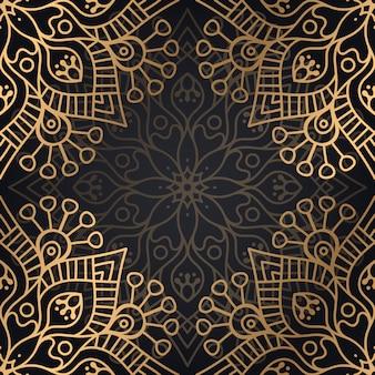 Luxo ornamental mandala design sem costura padrão no vetor de cor ouro