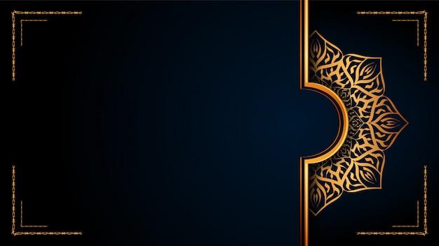 Luxo ornamental mandala islamic background com arabesco dourado para convite de casamento, capa do livro.