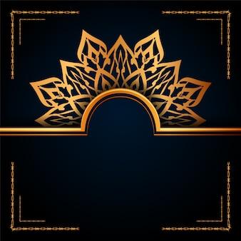 Luxo ornamental mandala islamic background com padrões de arabesco dourado para convite de casamento, capa do livro.