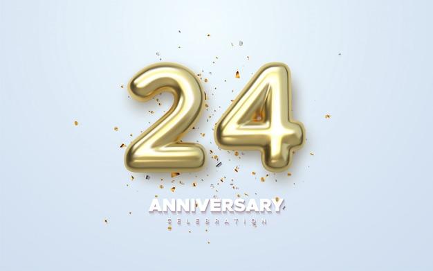 Luxo ouro 24 aniversário, logotipo minimalista. jubileu, cartão de felicitações.