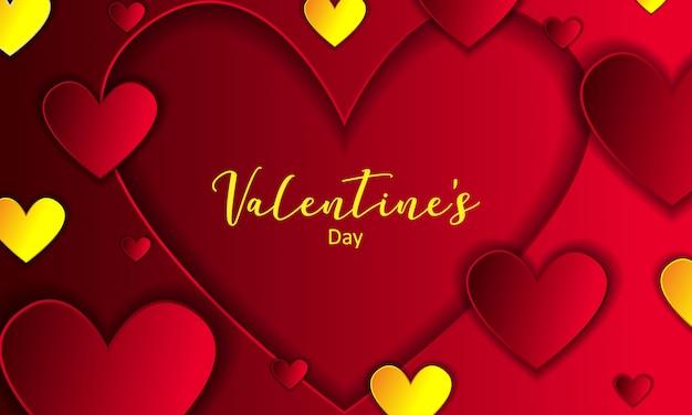 Luxo ouro e vermelho dia dos namorados com fundo de coração