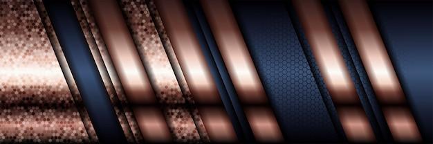 Luxo padrão poligonal abstrato azul escuro com ouro.