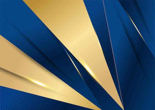 Luxo padrão poligonal abstrato azul escuro com ouro