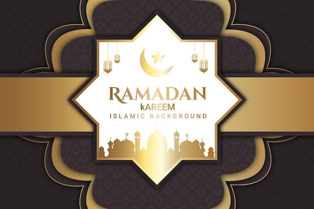 Luxo ramadan kareem cor de fundo branco marrom e dourado