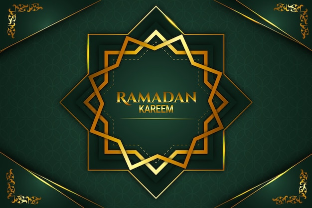 Luxo ramadan kareem cor de fundo dourado e verde