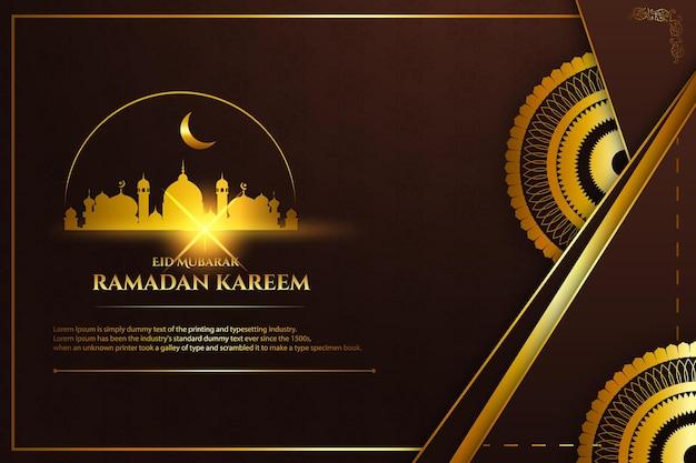 Luxo ramadan kareem cor de fundo marrom e dourado