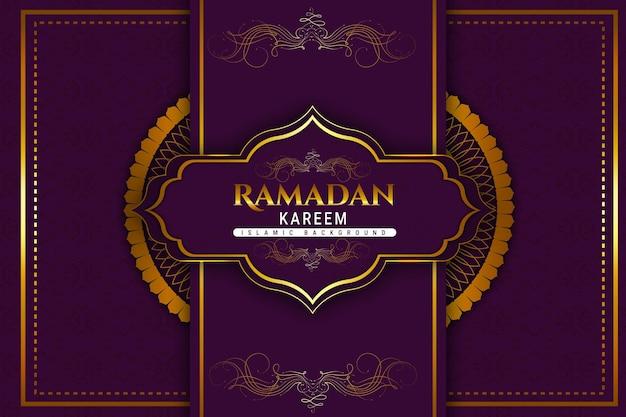 Luxo ramadan kareem islâmico cor de fundo roxa e dourada