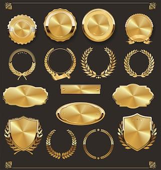 Luxo retro emblemas de ouro e prata coleção