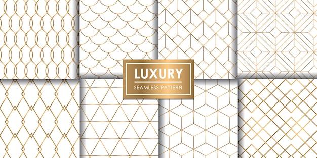 Luxo sem costura padrão geométrico conjunto, papel de parede decorativo.