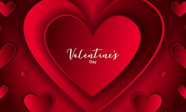 Luxo vermelho dia dos namorados com fundo de coração