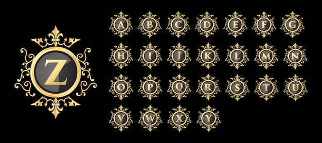 Luxo vintage estilo real ouro feminino floral iniciais letras logotipo modelo conjunto de modelos