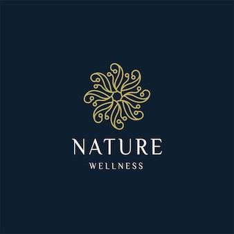 Luxuosa natureza floral folha ornamento logotipo ícone design modelo ouro elegante beleza spa vetor