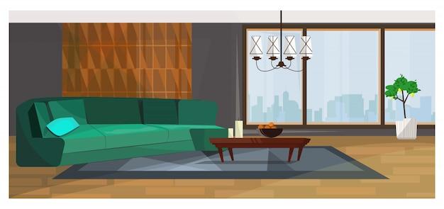 Luxuosa sala de estar com ilustração de janela panorâmica