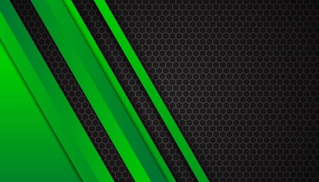 Luxuosas linhas verdes brilhantes no fundo escuro do hexágono