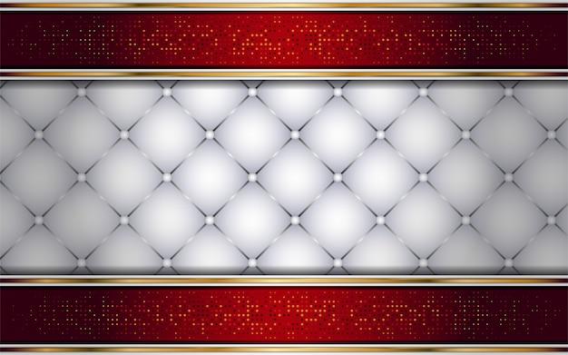 Luxuoso branco e vermelho com fundo da linha dourada