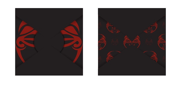 Luxuoso cartão-postal pronto para imprimir na cor preta com padrões da máscara dos deuses. modelo de convite com um lugar para o seu texto e um rosto em ornamentos de estilo polizenian.