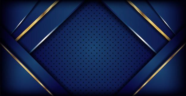 Luxuoso fundo azul escuro com combinação de linhas douradas