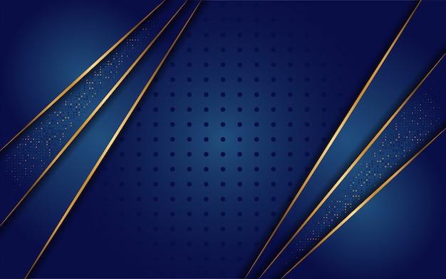 Luxuoso fundo azul escuro com uma combinação de linha ouro