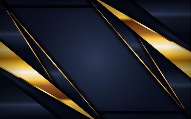 Luxuoso fundo escuro da marinha com linhas douradas