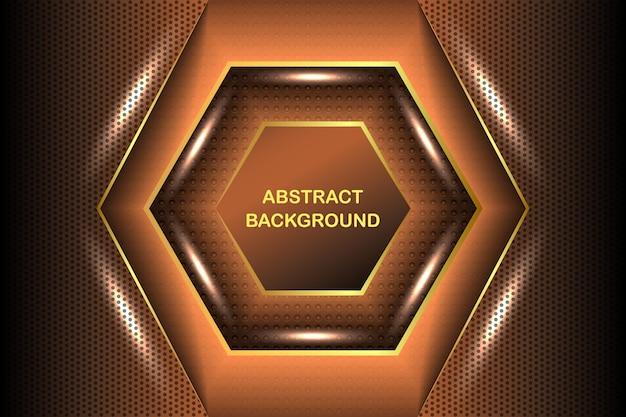 Luxuoso marrom escuro combinado com linhas douradas e ilustração de elementos de pontos
