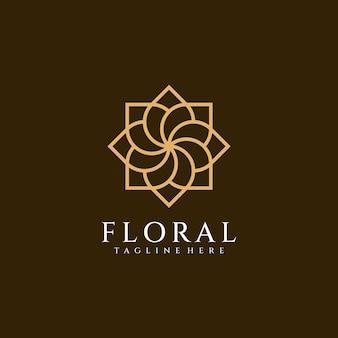 Luxuoso ornamento exclusivo com logotipo de flor decorativo spa moda