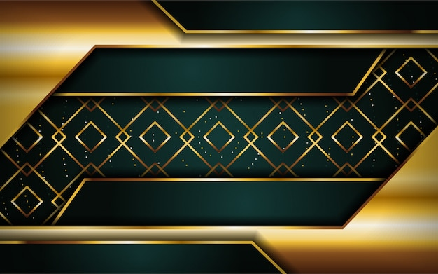 Luxuoso prémio verde marinho abstrato com linhas douradas.