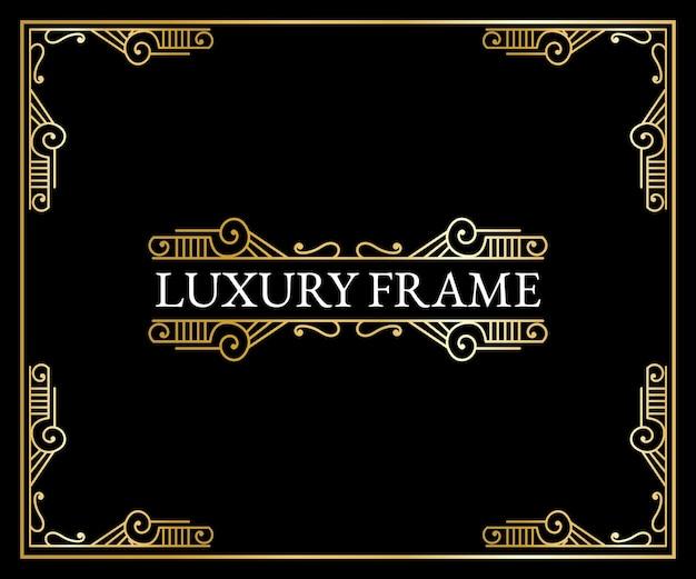 Luxuosos elementos art déco antigos bordas douradas emolduram cantos, divisórias e cabeçalhos