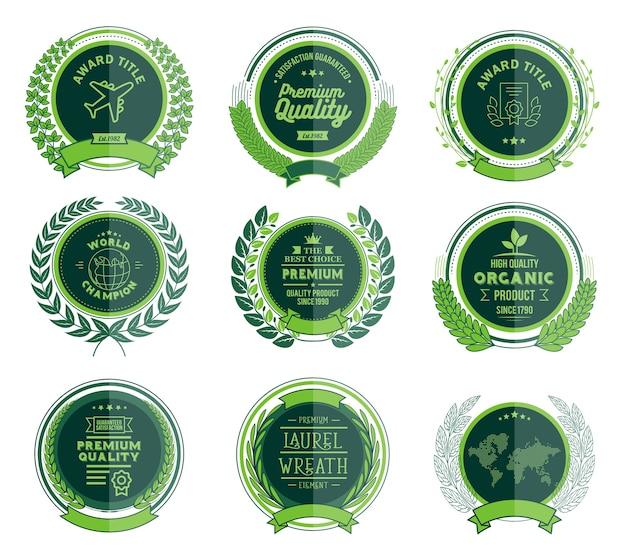 Luxury green badges coleção de grinaldas de laurel