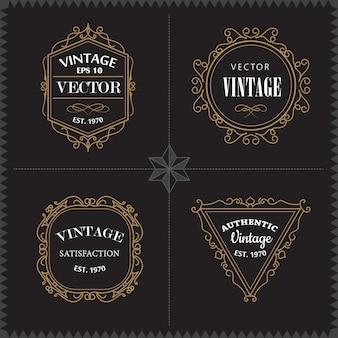 Luxury logos set template vintage moldura de distintivo elegante