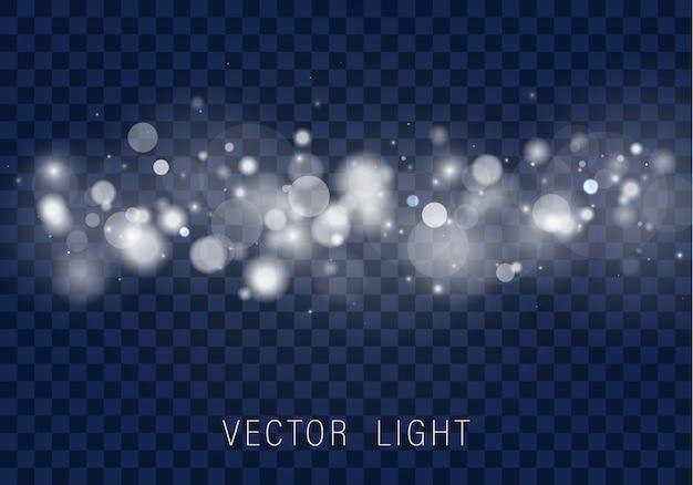 Luz abstrata brilhante bokeh luzes efeito isolado em fundo transparente.