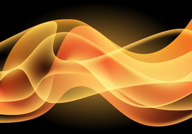 Luz amarela da curva da onda no fundo preto.