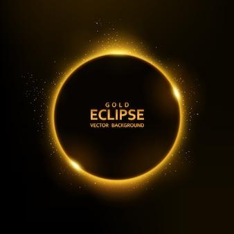 Luz amarela do eclipse com brilhos
