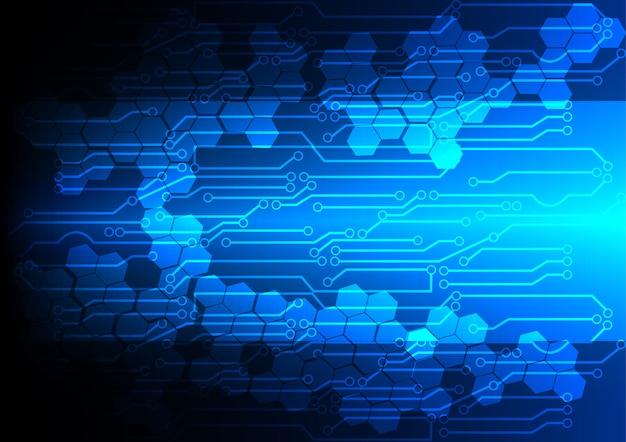 Luz azul abstrata com tecnologia de fundo do circuito