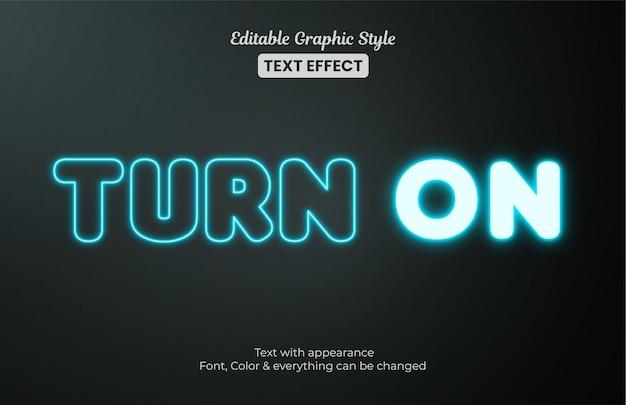 Luz azul brilhante, efeito de texto de estilo gráfico editável
